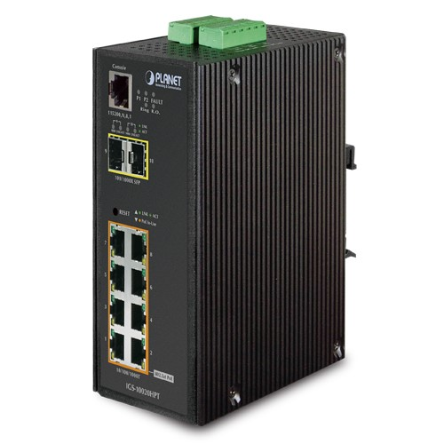 IP30 L2+ SNMP Manageable 8-Port Gigabit POE+(AT) Switch + 2-Port Gigabit SFP Industrial Switch
