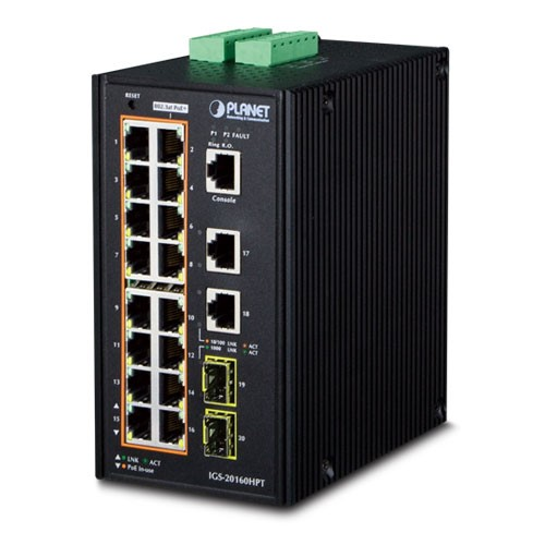 IP30 Industrial L2+/L4 16-Port 1000T 802.3at PoE+ 2-Port 1000T + 2-port 100/1000X SFP Full Managed S