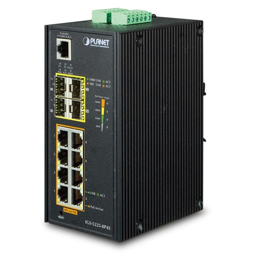 IP30 Industrial L2+/L4 8-Port 1000T 802.3at PoE+ 4-port 100/1000X SFP Full Managed Switch
