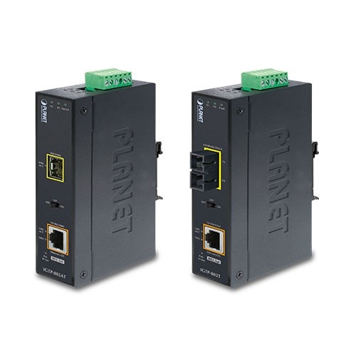1000BASE-SX to 10/100/1000BASE-T 802.3at PoE+ Industrial Media Converter (SC,MM) -550m