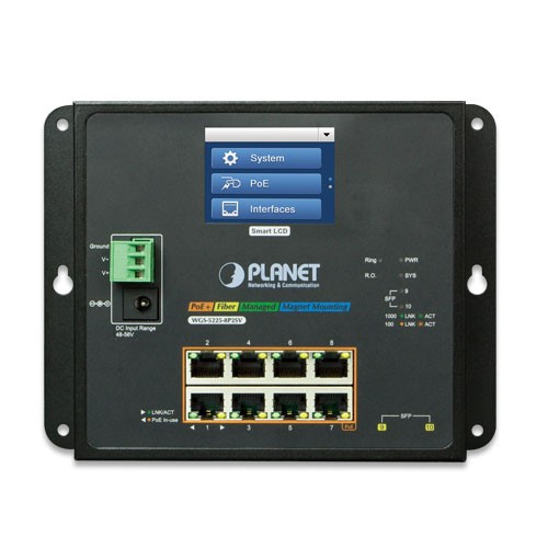 8-Port 10/100/1000T PoE + 2-Port 100/1000X SFP Managed Switch with LCD touch screen