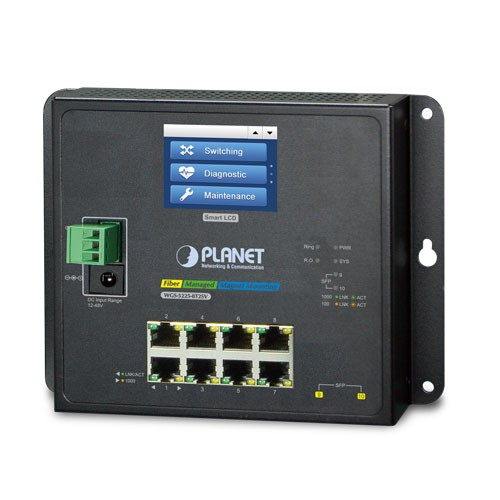 8-Port 10/100/1000T + 2-Port 100/1000X SFP Wall-mount Managed Switch with LCD touch screen