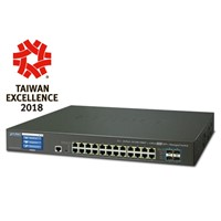 24-Port 10/100/1000T + 4-Port 10G SFP+ Managed Switch with Color LCD Touch Screen